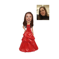 Bridesmaid In Red Dress Custom Wedding Bobbleheads