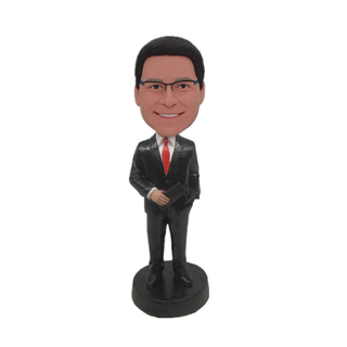 Groomsmen Wedding Bobbleheads Man In Black Suit One Hand In Packet and One Hand With Wallet