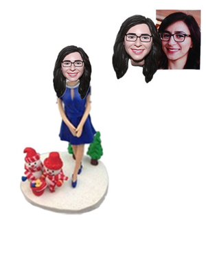 Custom Bobblehead Lady in Blue Dress with Snowman on Base