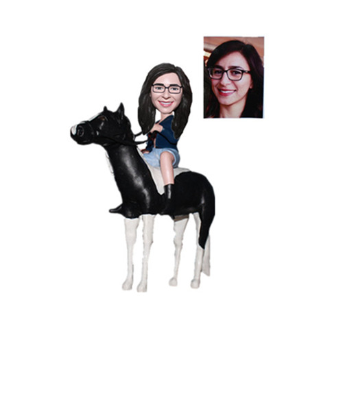 Female Riding on The Horse Custom Bobble Heads