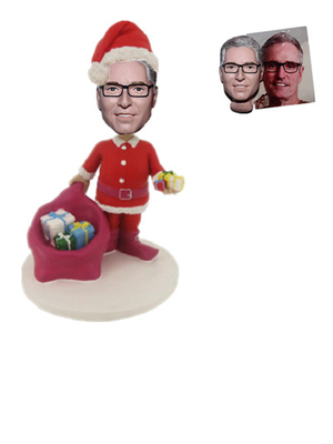 Custom Bobble Head Santa Carrying A Big Gift Bag