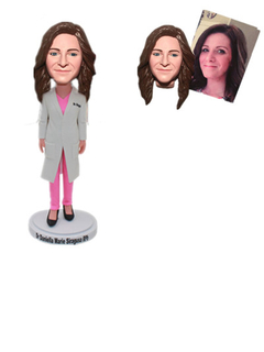 Personalized Female Doctor in Lab Coat Custom Bobbleheads
