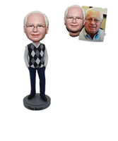 Custom Bobbleheads Man in White Shirt under Sweater Vest