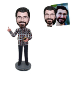 Teacher Custom Bobblehead in Plaid Shirt