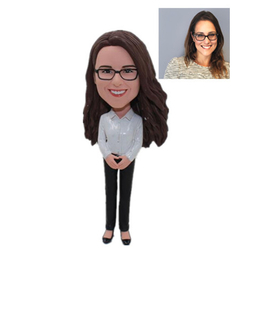 Custom Bobblehead Female Colleague Gift