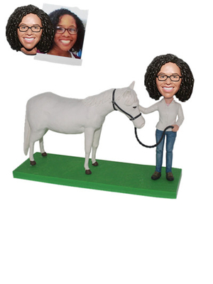 Custom Bobblehead Lady with A White Horse