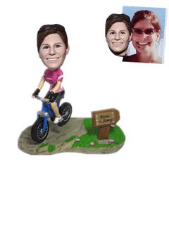 Custom Bobblehead Female Riding Bike