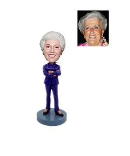 Boss's Gift Custom Bobblehead Lady In Blue Suit