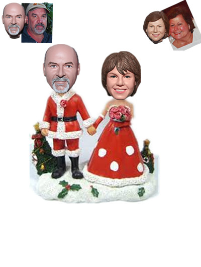 Custom Bobblehead Christmas Couple Hands in Hands