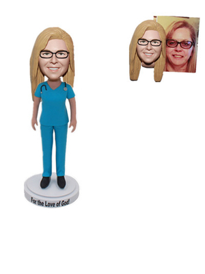 Custom Bobblehead Female Nurse in Blue Shirt with Stethoscope