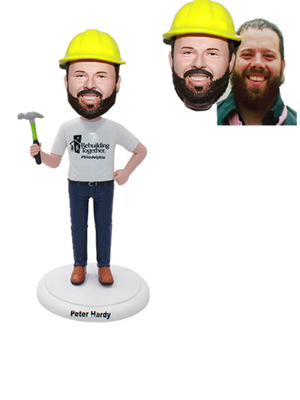 Custom Architect Bobblehead with Hard Hat Holding A Hammer Bobble Head