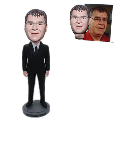 Custom Bobblehead Man in Black Suit