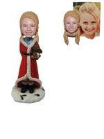 Custom Christmas Girl Bobble Head Girl with A Teddy Bear