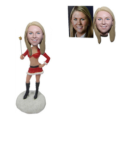 Personalized Chrisstmas Girl Custom Bobble Head