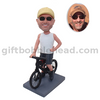 Custom Bike Rider Bobblehead Man on The Bike with One on Waist