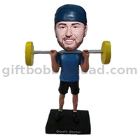 Custom Bobblehead Weightlifting Player Holding The Barbell