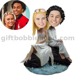 Custom Wedding Cake Topper Couple Bobblehead Sitting on Rock