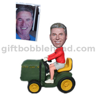 Custom Bobbleheads Man Driving The Tractor Riding On Road