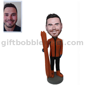 Handmade Birthday Gift Bobblehead Custom From Photo Skiing Bobbleheads