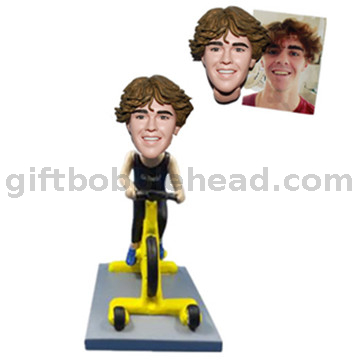 Custom Bobblehead Man Riding Indoor Bike