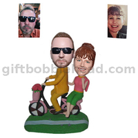 Custom Wedding Cake Toppers Couple on The Bike Bobbleheads