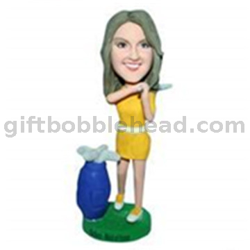 Custom Golf Bobblehead Lady Playing Golf Bobbleheads