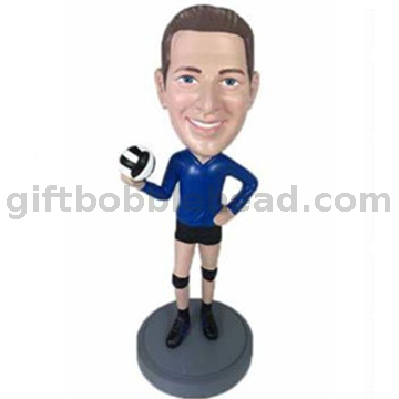 Unique Gift for Male Custom Bobblehad Man Holding A Volleyball