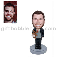 Custom Male Bobblehead Dad Holding A Teddy Bear Fathers' Day Gift