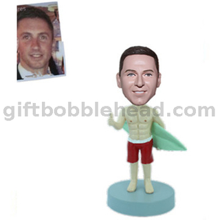 Surfing Bobble Head Custom From Photo Man Holding A Surfboard with Thumb Up