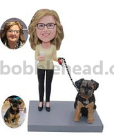 Custom Bobble Head Lady Walking A Dog
