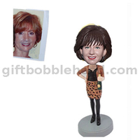 Custom Female Bobblehead Lady in Leopard Skirt with Beer in Hand