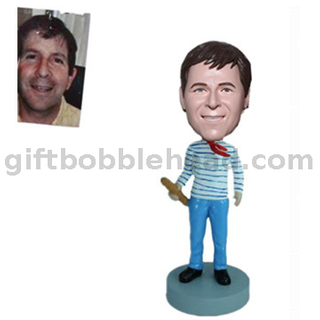 Custom Bobbleheads Man Holding A French Bread