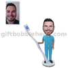 Dentist Holding A Big Toothbrush Customize Bobblehead Dentist's Gift