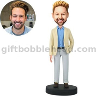 Man in Khaki Coat with Hand in Pocket Bobblehead Doll Custom