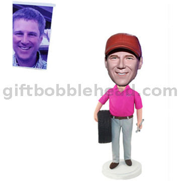 Custom Male Auto Mechanic Bobblehead Handmade Gift