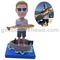 Custom Fishing Bobbleheads Man in The Boat Holding A Big Fish