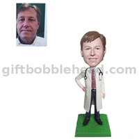 Custom Male Bobbleheads Doctor in White Lab Coat with A Stethoscope Hang on The Neck