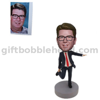 Unique Gift Handmade Bobblehead Dancing Man in Black Suit
